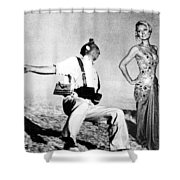 Paris Hilton With The Falling Soldier Shower Curtain