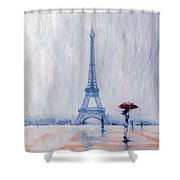 Paris In Rain Shower Curtain