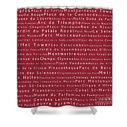 Paris In Words Red Shower Curtain