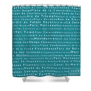 Paris In Words Teal Shower Curtain