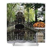 Paris Jardin Du Luxembourg Gardens Autumn Fall  - Medici Fountain Sculpture Autumn Fall Photographs Shower Curtain