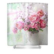 Paris Peonies Roses Shabby Chic Art - Romantic Paris Peonies And Roses Impressionistic Floral Art Shower Curtain