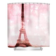 Paris Pink Eiffel Tower - Shabby Chic Paris Dreamy Pink Eiffel Tower With Hearts And Stars Shower Curtain