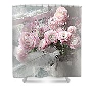 Paris Pink Impressionistic French Roses And Ranunculus - Shabby Chic Romantic Pink Flowers Shower Curtain
