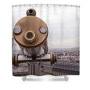 Paris Rooftops Telescope View Of Eiffel Tower - Paris Telescope Rooftop Eiffel Tower View Shower Curtain