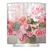 Paris Shabby Chic Dreamy Pink Peach Impressionistic Romantic Cottage Chic Paris Flower Photography Shower Curtain