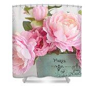 Paris Peonies Shabby Chic Dreamy Pink Peonies Romantic Cottage Chic Paris Peonies Floral Art Shower Curtain
