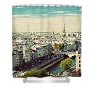Paris Skyline France. Eiffel Tower Shower Curtain