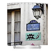 Paris Street Art - Space Invader Shower Curtain