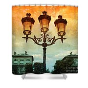 Paris Street Lamps With Textures And Colors Shower Curtain