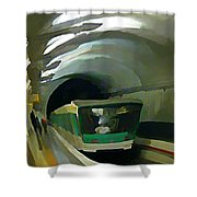 Paris Train In Fisheye Perspective Shower Curtain