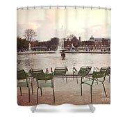 Paris Tuileries Garden Park Fountain Green Chairs - Paris Autumn Fall Tuileries - Autumn In Paris Shower Curtain