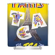 Paris Vintage Travel Poster Shower Curtain