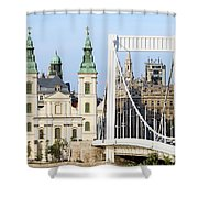 Parish Church And Elizabeth Bridge In Budapest Shower Curtain