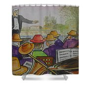Parisian Hat Band Across From Notre Dame Cathedral Shower Curtain