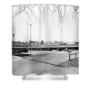 Park & Shop Early Strip Mall Shower Curtain