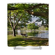 Park Bench By A Lake Shower Curtain