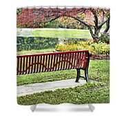 Park Bench By The Pond Shower Curtain