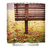 Park Bench In Autumn Shower Curtain by Edward Fielding