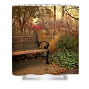 Park Bench In Autumn Shower Curtain
