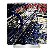 Park Bench With Flowers Shower Curtain