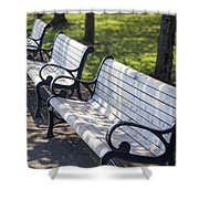 Park Benches At Portland Waterfront Park Shower Curtain
