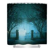 Park Gates At Night In Fog Shower Curtain