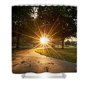 Park Sunburst Landscape Shower Curtain