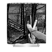 Park Trail Bw Shower Curtain
