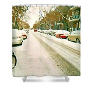 Parked Cars Snowed In Cold December Day Verdun Painting Quebec Winter Scenes Carole Spandau Art Shower Curtain