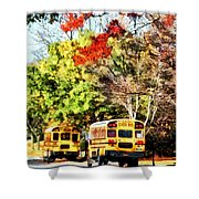 Parked School Buses Shower Curtain