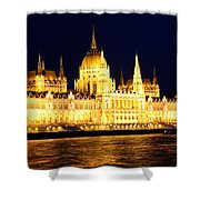 Parliament Building At Night In Budapest Shower Curtain