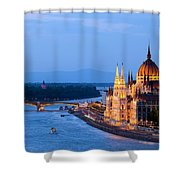 Parliament Building In Budapest At Evening Shower Curtain