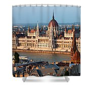 Parliament Building In Budapest At Sunset Shower Curtain