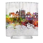 Parma Skyline In Watercolor Background Shower Curtain