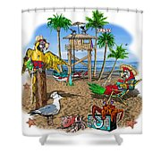 Parrot Beach Party Shower Curtain