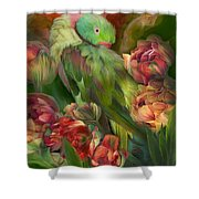 Parrot In Parrot Tulips Shower Curtain