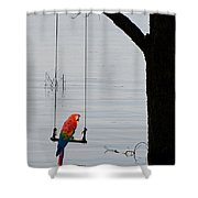 Parrot On A Swing Shower Curtain