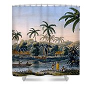 Part Of The Village Of Matavae, Coconut Shower Curtain