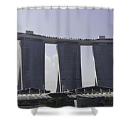 Partial View Of The Artscience Museum And The Marina Bay Sands Shower Curtain