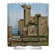 Partially Restored Fountain Of Trajan In Ephesus-turkey Shower Curtain