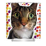 Party Animal- Cat With Confetti Shower Curtain