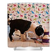 Party On Puppy Shower Curtain