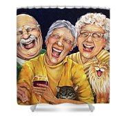 Party Pooper Shower Curtain by Shelly Wilkerson