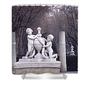 Paseo Del Prado In Winter Madrid Shower Curtain