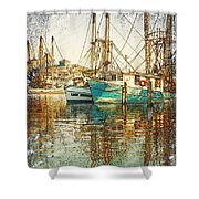 Pass Christian Harbor Sketch Shower Curtain