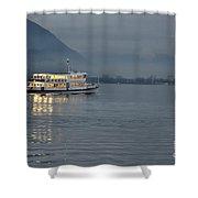 Passanger Ship At Night Shower Curtain