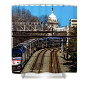 Passenger Metro Train With Us Capitol Shower Curtain
