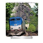 Passenger Train Locomotive Shower Curtain