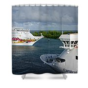 Passing Cruise Ships Shower Curtain